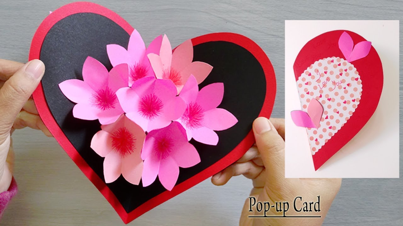 paper heart flower popup card  paper crafts