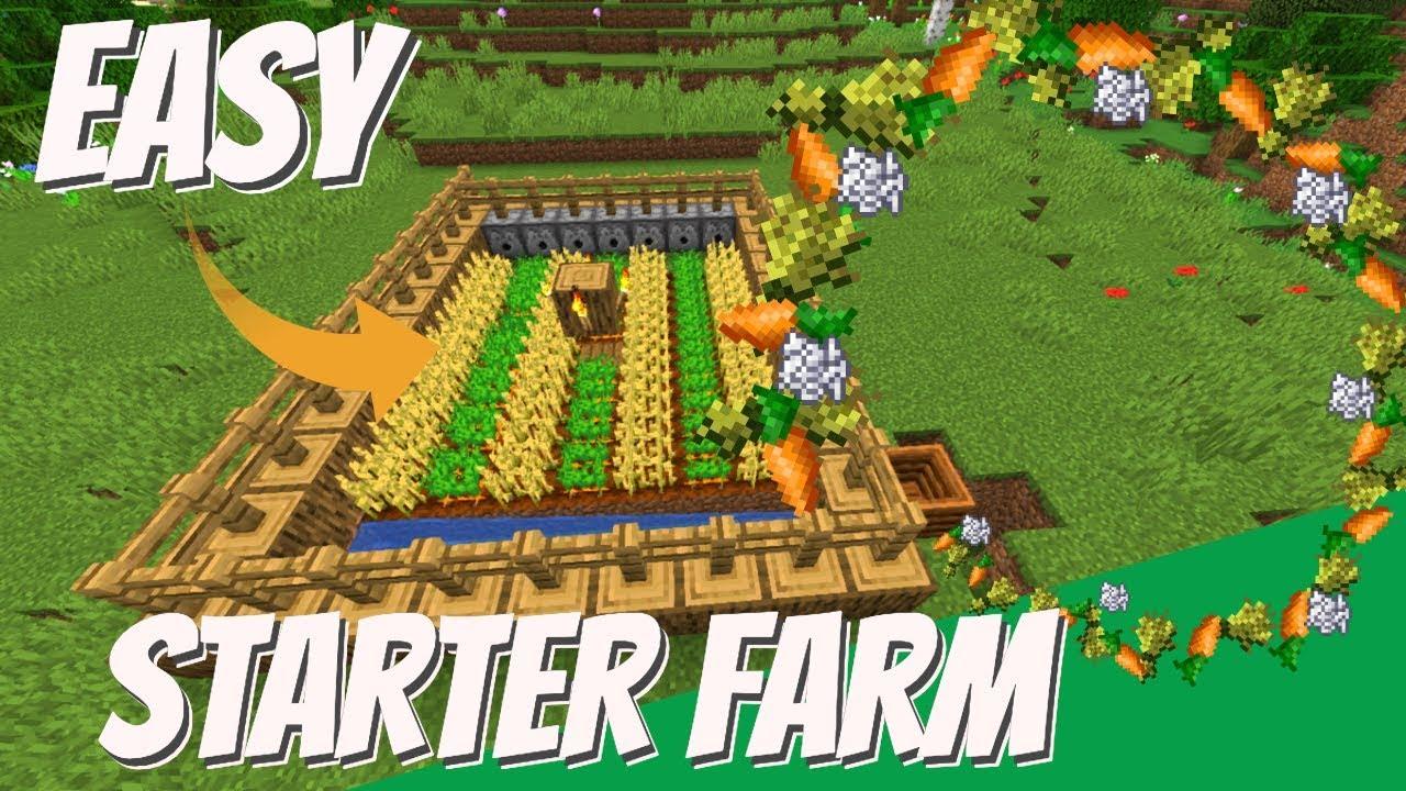 How to make a Crop Farm in Minecraft: Starter Crop Farm for Minecraft  Survival 177.1774 & 177.1775 Avomance