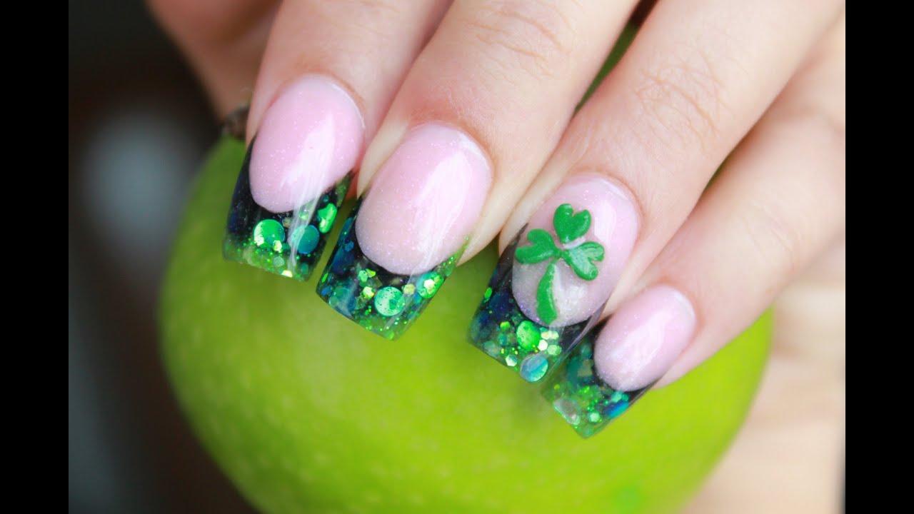 Shamrock St Patricks Green 3D Nails - YouTube