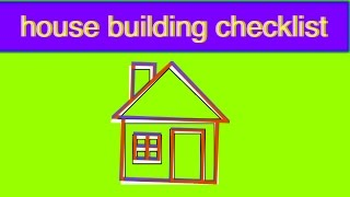 house building checklist