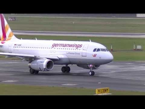Germanwings Lufthansa Group A319 Taxi + Take-off at Düsseldorf Intl. Airport