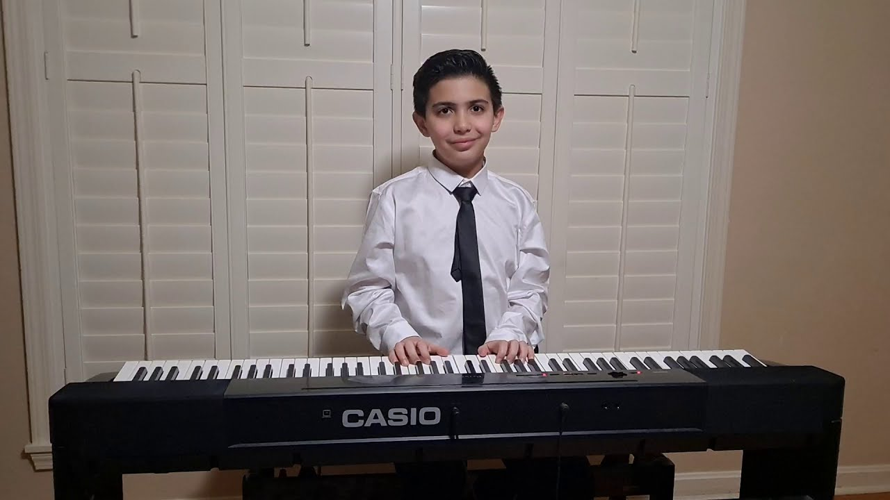 10 years old.  Bach Invention No. 8 in F major, BWV 779 and Bach Minuet in G major, BWV Anh. 114.