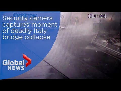 Police release security camera footage of Italy bridge collapse