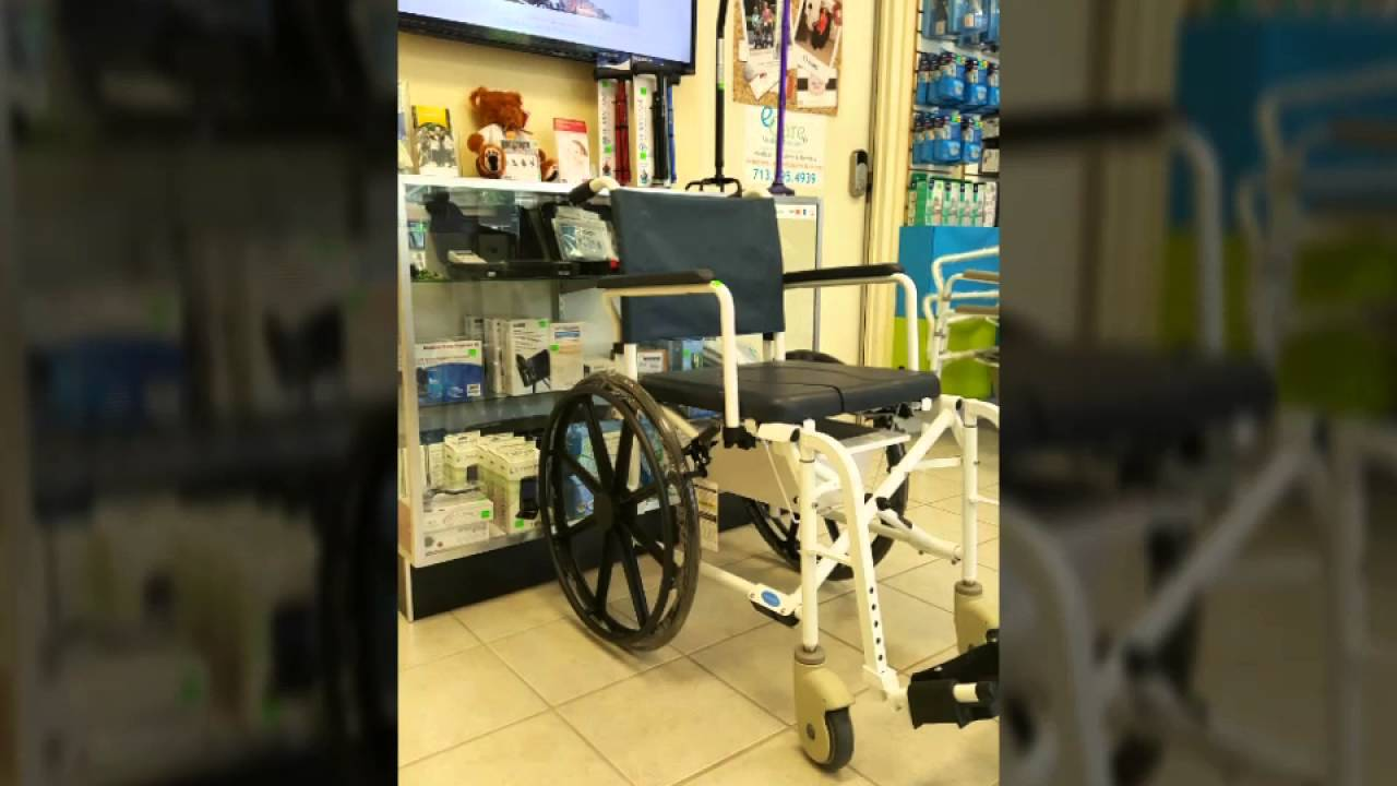 Invacare Rehab Shower Commode Chair with Footrest - YouTube