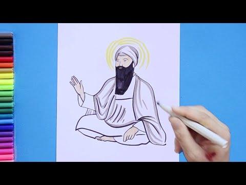How To Draw Guru Arjan Dev Ji - 5th Guru Of Sikhism