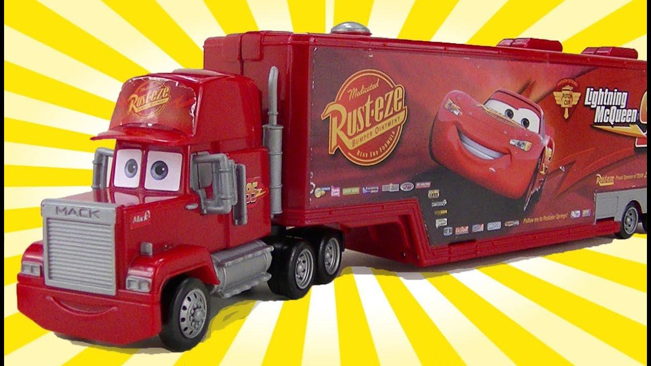 Lightning Mcqueen Mack Truck Hauler : Cars mack toy trailer hauler disney lightning