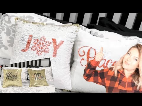 DIY Stencil 2 sided Sequin Pillows With the CRICUT - YouTube