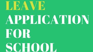 Sick Leave application to the Teacher/How to write leave application for School/ Leave Letter