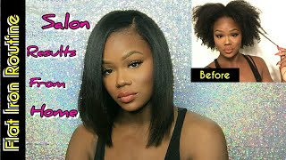 Natural Hair| Flat Iron Routine For Salon Silky Straight Results