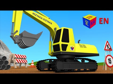 Trucks for children kids. Construction game: Crawler excavator