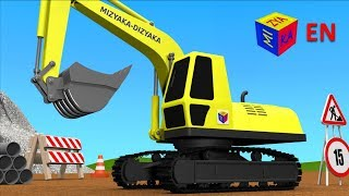 Trucks for children kids. Construction game: Crawler excavator thumbnail