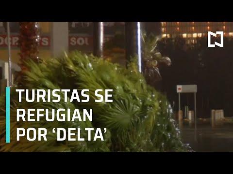 Turistas nacionales y extranjeros se refugian por huracán 'Delta' en Cancún - Las Noticias