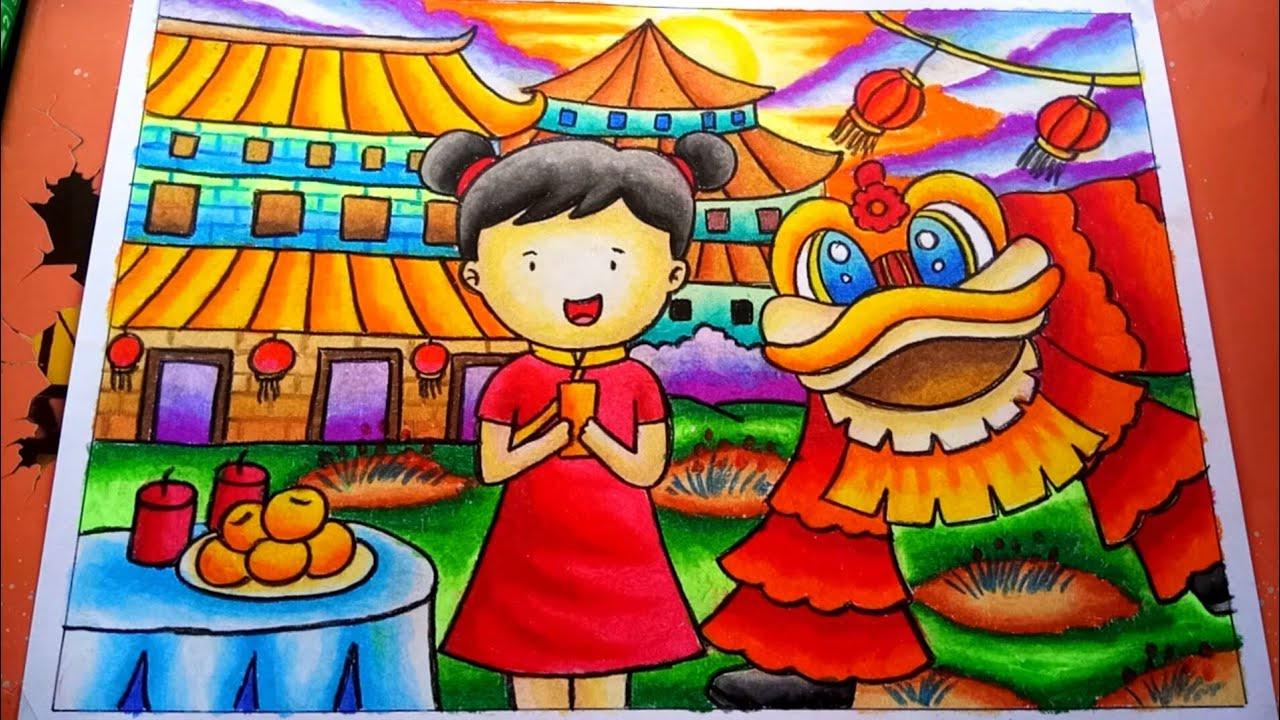 Cara Menggambar Dan Mewarnai Tema Chinese New Year Mewarnai Gradasi