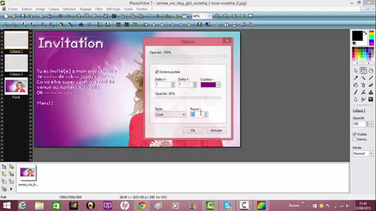 Tuto Carte D Invitation Anniversaire Violetta Youtube