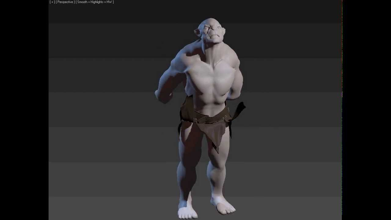 jumping orc playing with muscles in 3dsmax