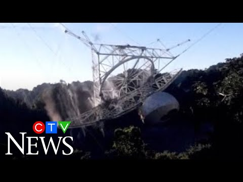 Watch the moment Puerto Rico's famous Arecibo Observatory collapses