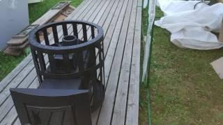 видео Чугунная печь Калита для бани на дровах