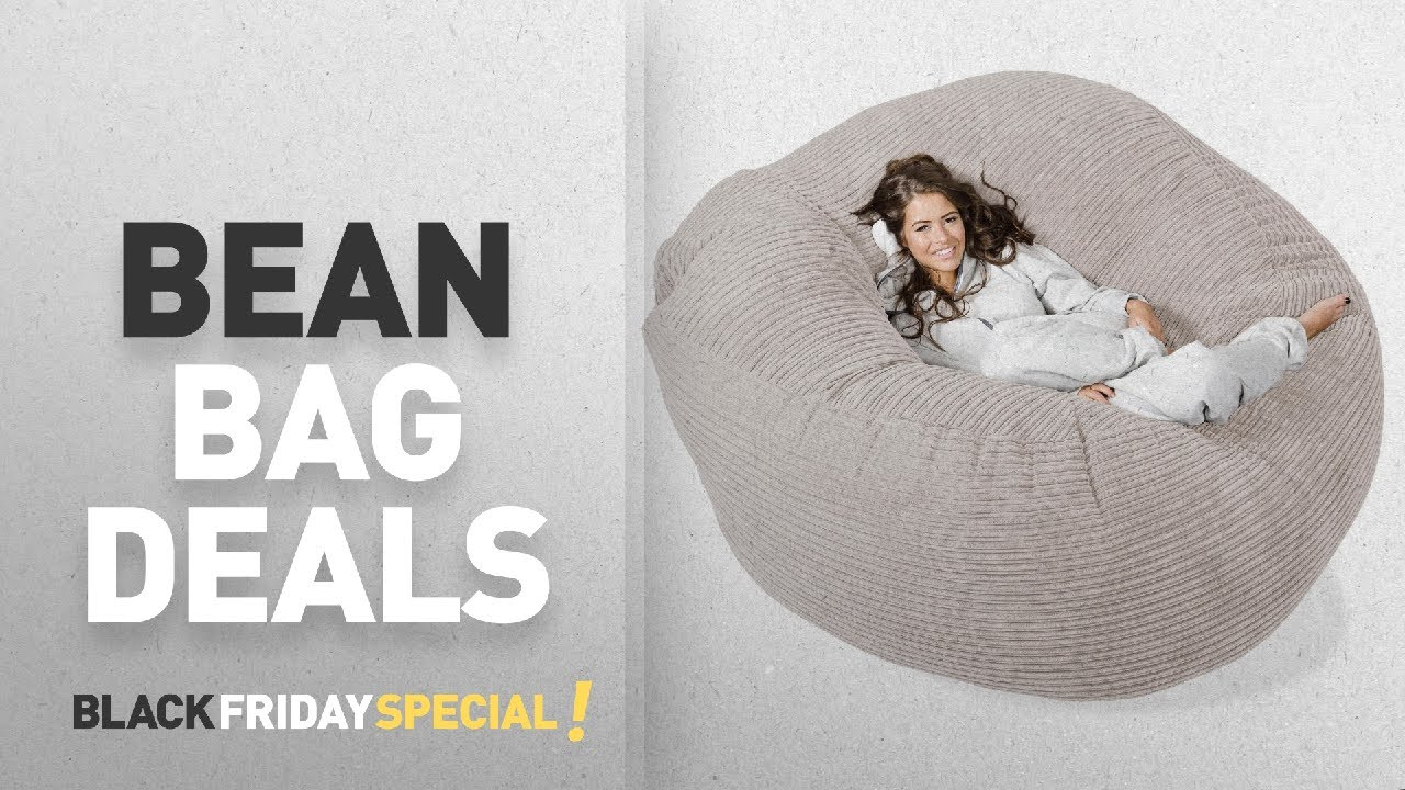 Black Friday Bean Bag Deals LOUNGE PUG MEGA MAMMOTH Beanbag IVORY Cord MASSIVE XXL Size