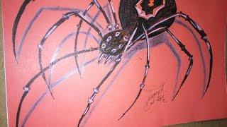 How to draw a black widow spider, Como dibujar una araña viuda negra en segunda dimension 2D
