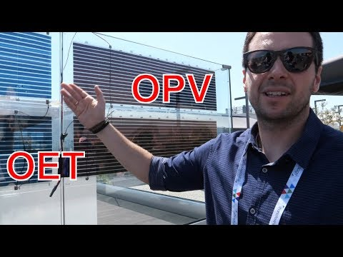OE Technologies (OET) Booth Flexible Organic Photovoltaics Umbrellas, Sunbeds At NANOTEXNOLOGY 2019