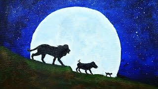 Drawing Lion King   Simba, Timon and Pumba   Acrylic painting step by step for beginners