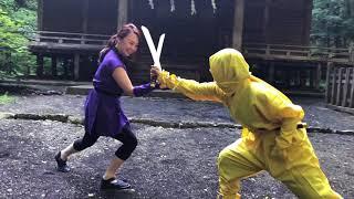 星見かおるVS岡ふみこ忍者対決!かさこ曲勧善懲悪ヒーロー撮影舞台裏