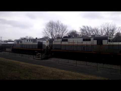 Falls Road Railroad Double Header Passing The Medina Railroad Museum 2-22-17