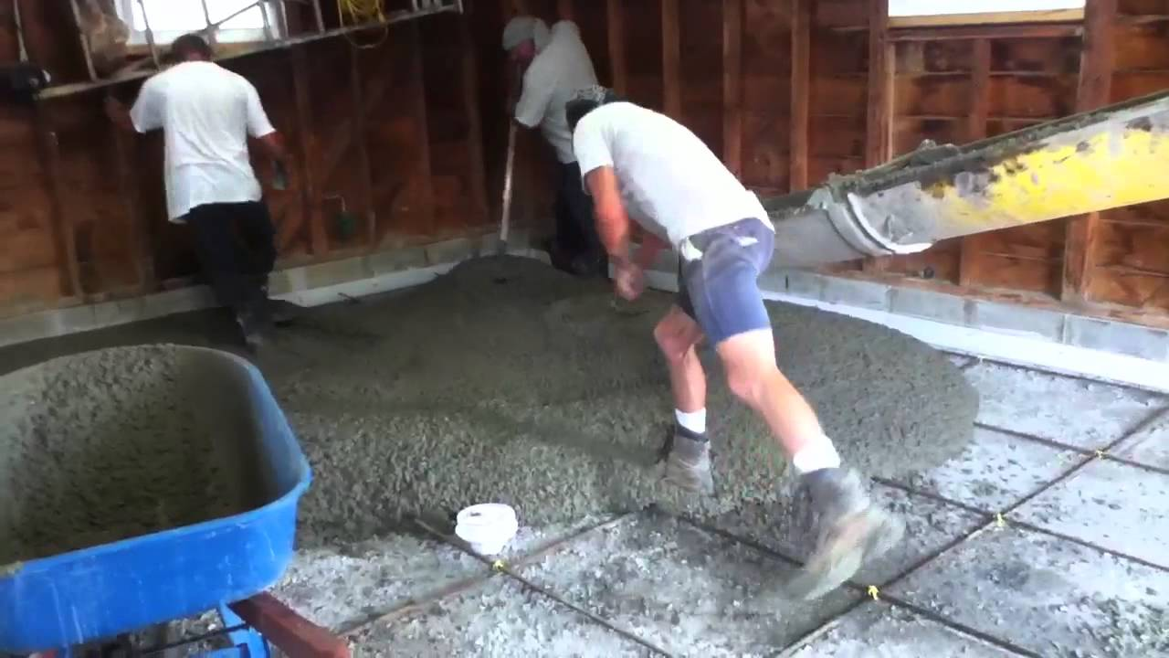 Pouring concrete garage floor gurus floor for How to pour a concrete slab for a garage