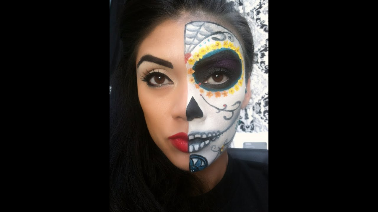 Sugar Skull Halloween Makeup Tutorial (Day of the Dead) - YouTube
