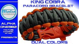 Paracord bracelet King Cobra with buckles dual color   2016