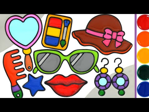 Beauty And Fashion items Jelly Painting & Coloring | Menggambar Dan Mewarnai Alat rias - Видео онлайн