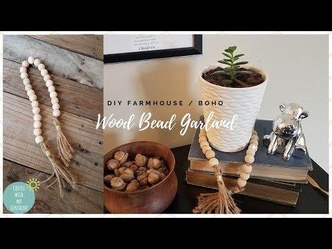DIY Wood Bead GARLAND | FARMHOUSE BOHO Rustic / MAKE IT YOUR OWN MONDAY | Shabby Chic