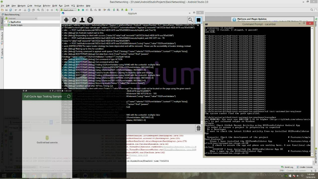 Recording of an Appium Test Automation using Cucumber, Ruby and a Galaxy S7