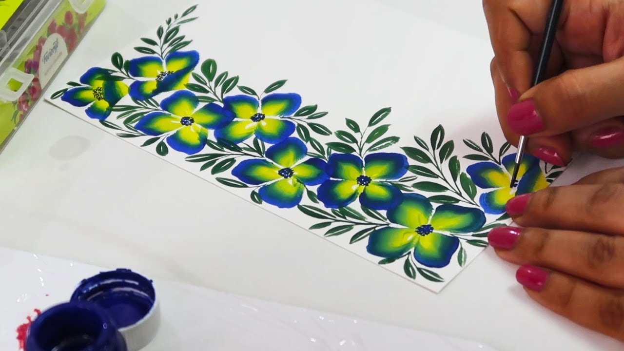 Beautiful Border Painting Design Using One Stroke Technique Fabric Painting Art Crafts Ideas Youtube