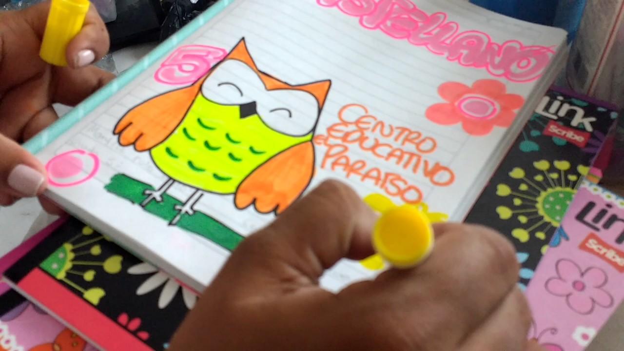 Marcar cuadernos con búho de castellano buho y flores