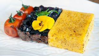 Мясо с итальянской полентой и соусом демигляс. Телятина. Говядина.