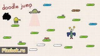 ► Обзор игры Дудл Джамп от Flashok ru. Онлайн игра Doodle Jump.