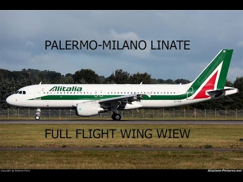 FSX HD A320 Alitalia Palermo Milan Linate Full Flight Passenger Wing View