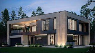 Проект дома в стиле минимализм. Дом с гаражом и террасой на втором этаже. Ремстройсервис М-281