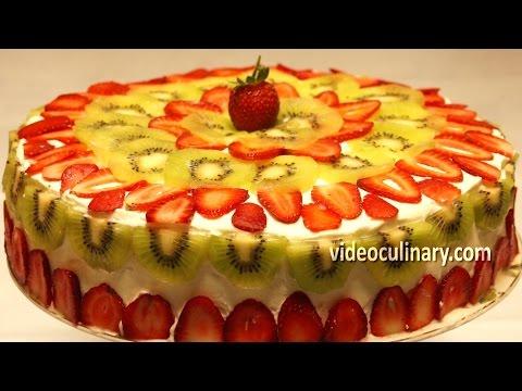 Ladyfinger Cake with Fresh Fruit by Grandma Emma - Russian Cake Recipe