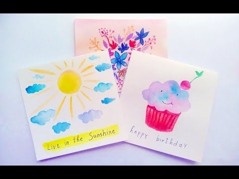 DIY Easy Watercolor Card Ideas , Greeting Cards Making At
