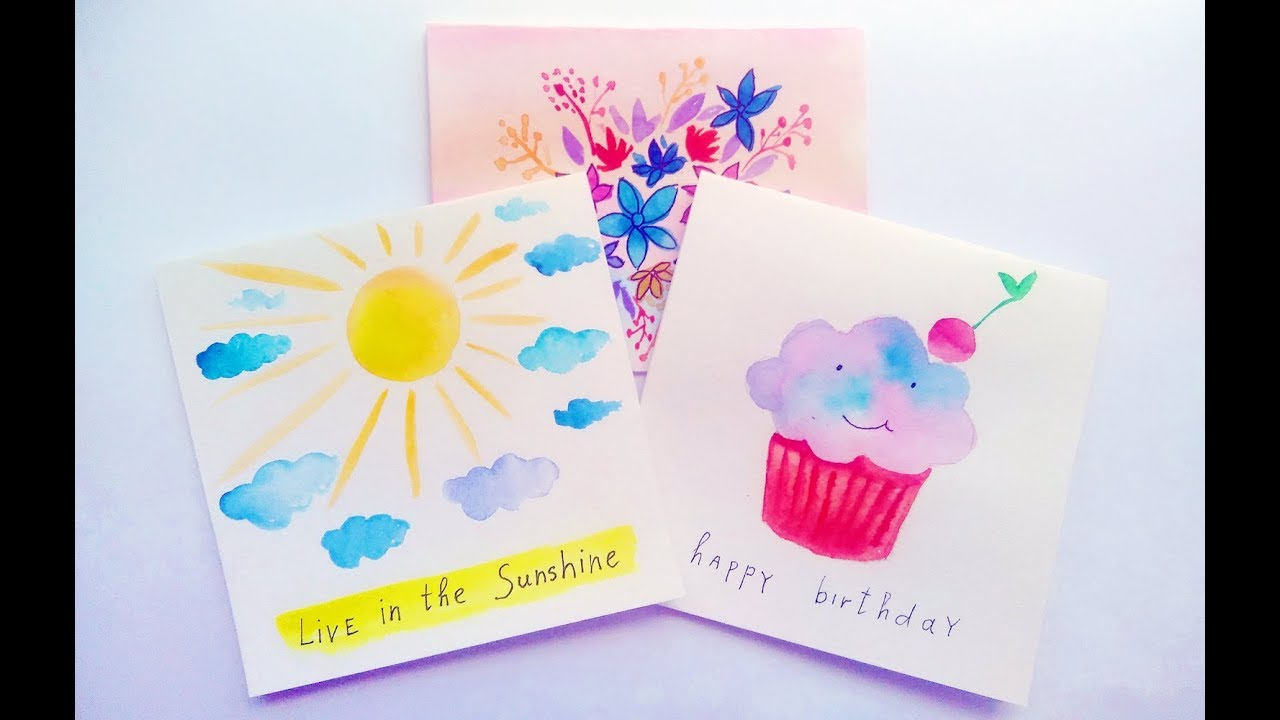 Diy Easy Watercolor Card Ideas Greeting Cards Making At Home