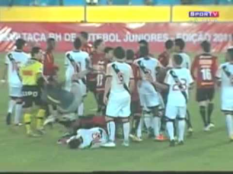 Brazilian Goalkeeper Kung Fu Kicks Player in Head