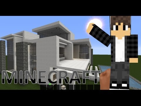 Minecraft lets build large modern house tutorial part 2 for Big modern house tutorial
