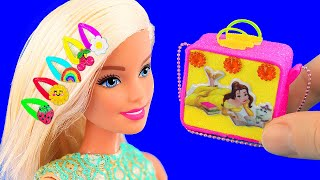 12 DIY Barbie Hacks: Miniature makeup, hair pins, phone, shoes, school supplies, and more!