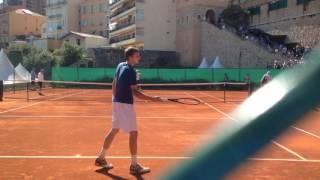 Djokovic hitting (Rafa watching on bench) :) Monte Carlo 2017
