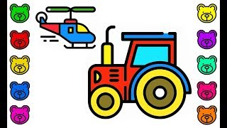 How to draw train, tractor, airplane coloring for kids #K   coloring pages car construction