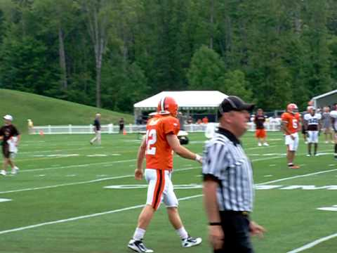 Colt McCoy throwing on the run for the Browns
