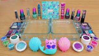 teal vs purple mixing makeup eyeshadow into slime special series 115 satisfying slime video