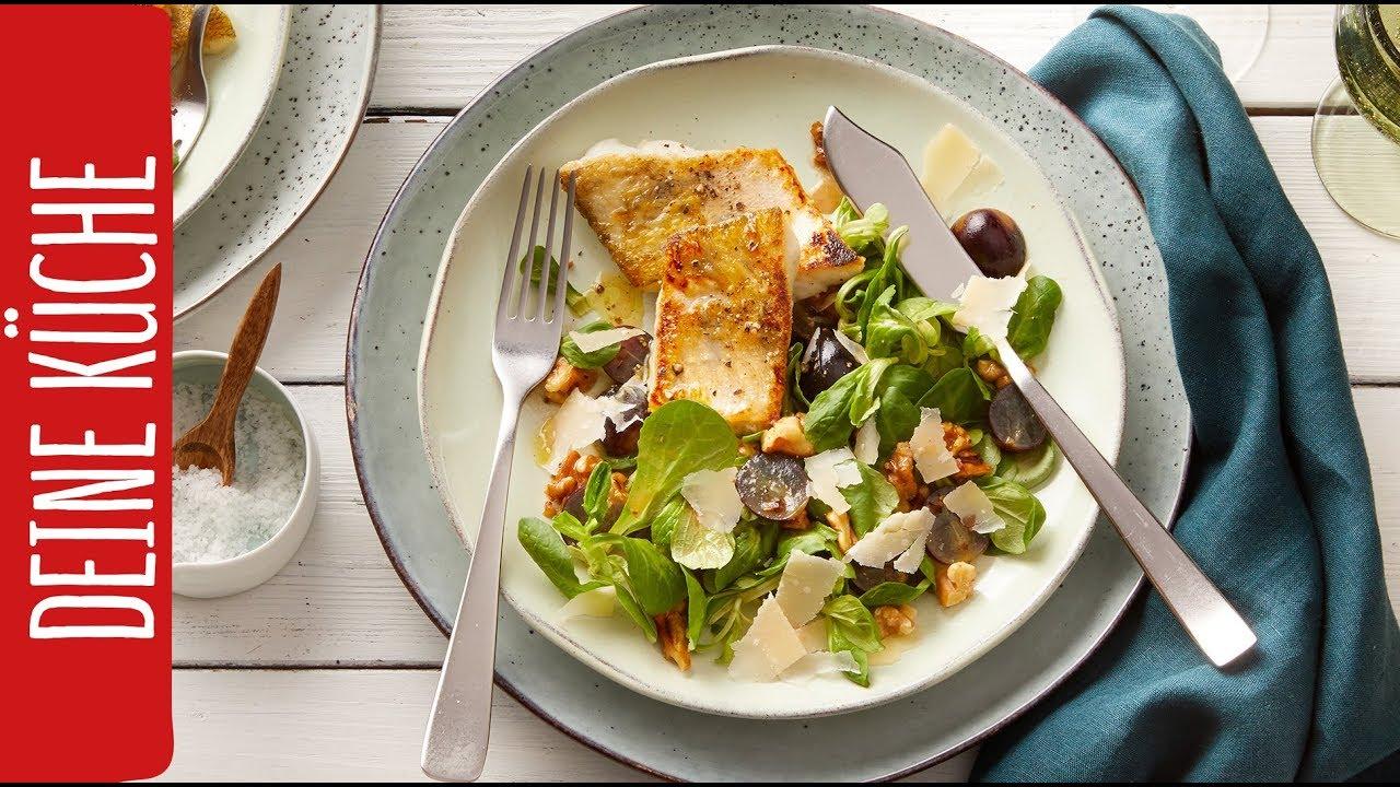 Zanderfilet mit Trauben-Feldsalat | REWE Deine Küche - YouTube